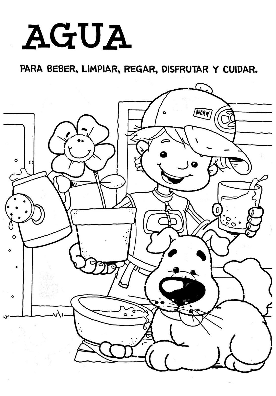Dibujo agua para beber-limpiar-regar-disfrutar-cuidar | Blog CPR ...